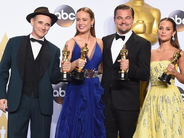 From left to right: Mark Rylance, Brie Larson, Leonardo DiCaprio and Alicia Vikander with their Oscars.