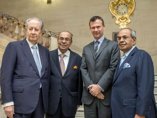 (From left to right) Juan Miguel Villar Mir, Prakash P Hinduja, parliamentary under secretary of state Mark Lancaster of the British ministry of defence and Gopichand P Hinduja, co-chairman of Hinduja Group, at the key handing over ceremony in London on Tuesday.