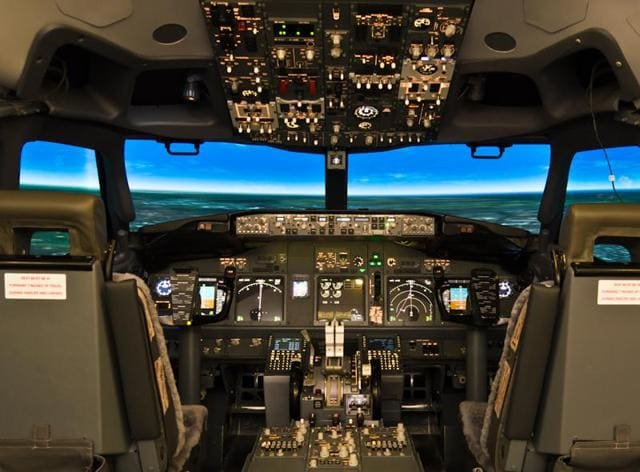 Two flight simulators — a Boeing 737 aircraft and a fighter jet — have been set up on Level 3 of the international terminal T2 for anybody interested in experiencing a cockpit and getting a sense of what pilots do with an aircraft mid-air.