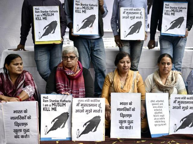 New Delhi, India – March. 01, 2016: Protestors during dharna at Jantar Mantar against Speeches given by VHP, BJP Leader and MOS, MHRD Kathria in Agra openly inciting people to kill Muslims in in New Delhi on Tuesday March, 01, 2016. (Photo by Arun Sharma / Hindustan Times)