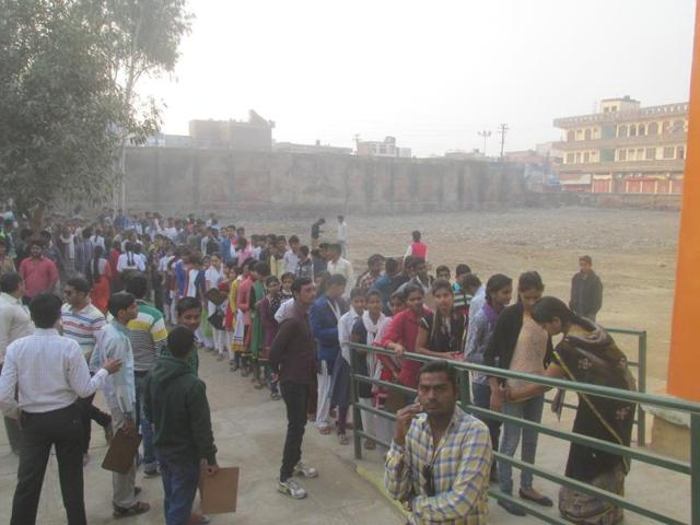 Students being frisked before entering an exam centre in Bhind on Tuesday. The district has earned a dubious reputation after more than 1000 cheating cases were reported last year.