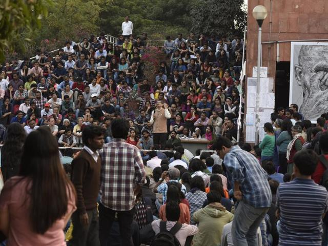 Two students of Satyawati College said on Tuesday that they were beaten up after they tried to put up posters about JNU's march to Parliament, by a group of students who said they won't allow 'anti-national' posters in the college.