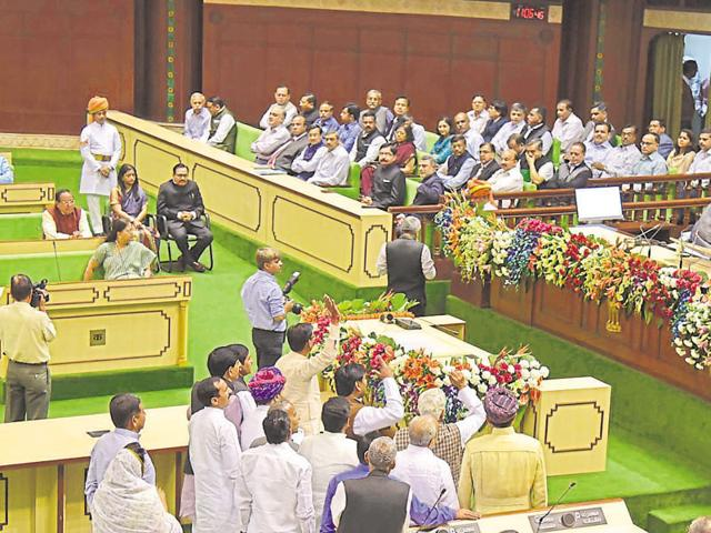 After getting no response from Speaker Kailash Meghwal, Congress members boycotted proceedings for 10 minutes.