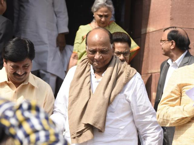 Nationalist Congress Party chief Sharad Pawar leaving after attending the Parliament Budget Session 2016.