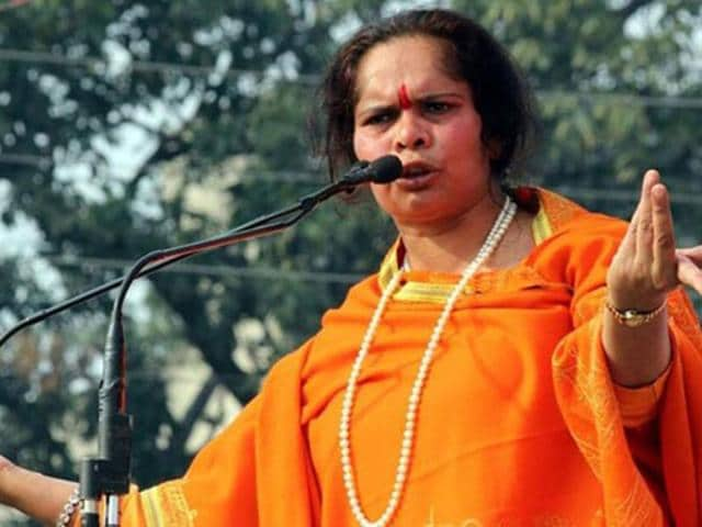 A file photo of Sadhvi Prachi at an anti-Yakub Memon rally. The Vishwa Hindu Parishad has denied that Prachi has any ties to the organisation, despite her being described as a VHPleader for many years.
