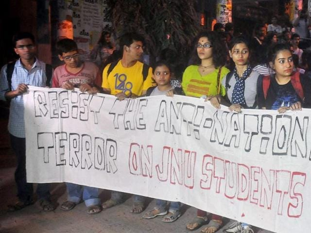 File photo of students of Jadavpur University participating in a rally over the JNUrow.