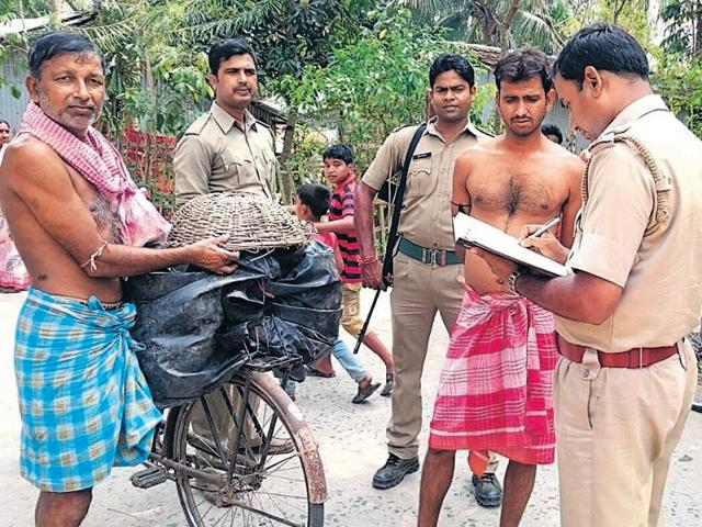 Cops in Burdwan on a confidence-building exercise on Wednesday.