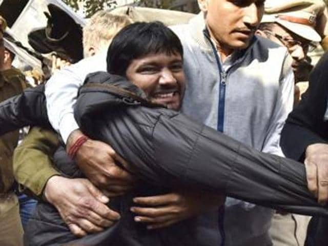 The Delhi high court had on Wednesday approved Kanhaiya Kumar's bail on a personal bond of Rs 10,000 and asked him to cooperate in investigations into allegations that he had delivered a seditious speech during an event to commemorate the hanging of 2001 Parliament attack convict Afzal Guru.(Virender Singh Gosain/HT Photo)