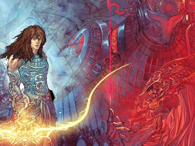 A still from artist comic Grant Morrison's futuristic retelling of the Mahabharata - 18 Days.