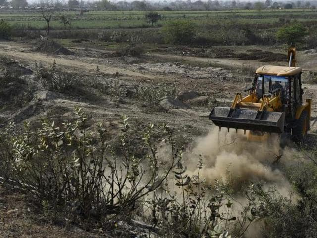 A structure being constructed on the Yamuna floodplains for a World Cultural Festival by the Art of Living foundation.