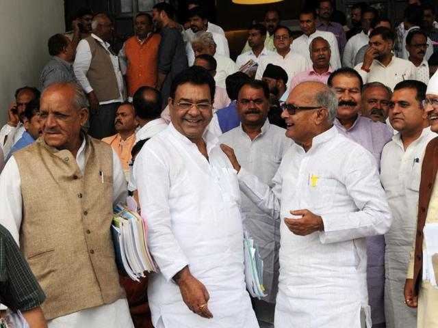 Assembly members after the end of day's proceedings in Bhopal on Thursday.