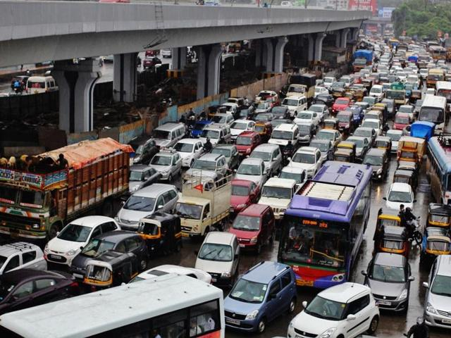 A traffic jam at Majiwada junction in Mumbai.