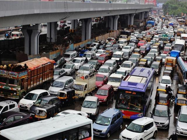 A traffic jam at Majiwada junction in Mumbai.