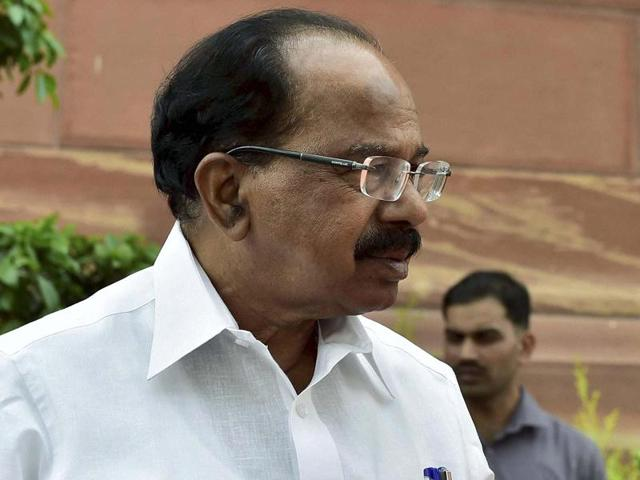 File photo of former law minister and Congress leader Veerappa Moily, at Parliament House in New Delhi.