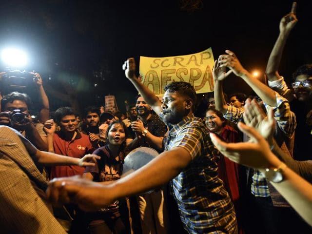 Jawaharlal Nehru University students celebrate at Jantar Mantar as Kanhaiya Kumar gets interim bail on Wednesday.