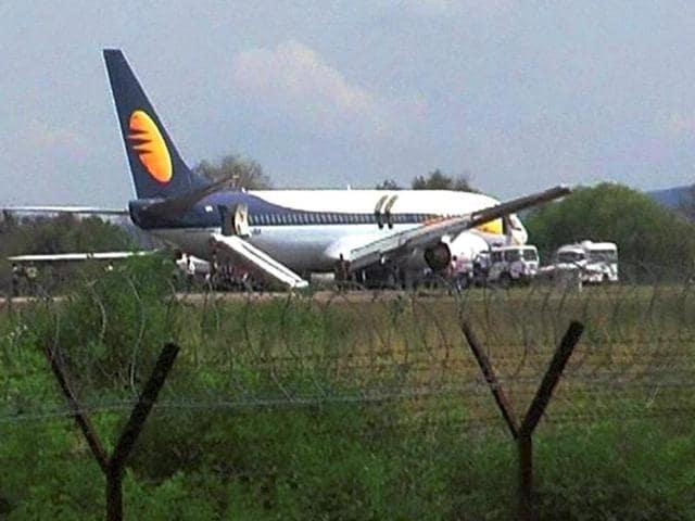 A Gorakhpur-bound Jet Airways flight landed at Delhi's IGI airport following a bomb threat on Thursday.