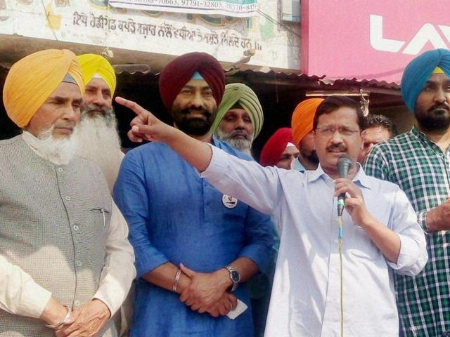 Delhi chief minister Arvind Kejriwal delivers a speech at Dhilwan in Punjab.