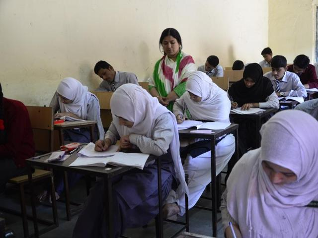 Students write Urdu exam at Govt Jahangiria Higher Secondary School in Bhopal on Wednesday.
