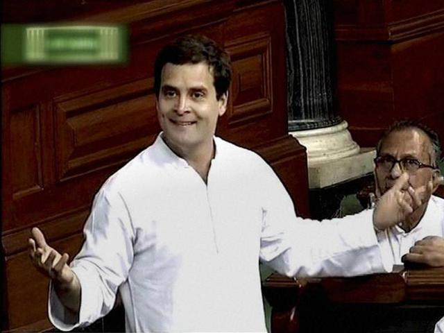 Congress vice-president Rahul Gandhi speaks in the Lok Sabha in New Delhi on Wednesday.