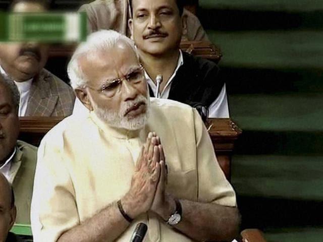 Prime Minister Narendra Modi speaks in the Lok Sabha in New Delhi on Thursday.