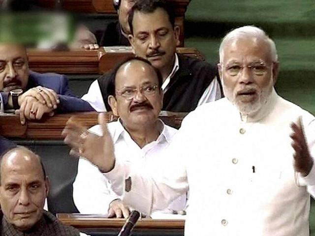 File photo of Prime Minister Narendra Modi speaking  in Lok Sabha during the second day of winter session of Parliament.