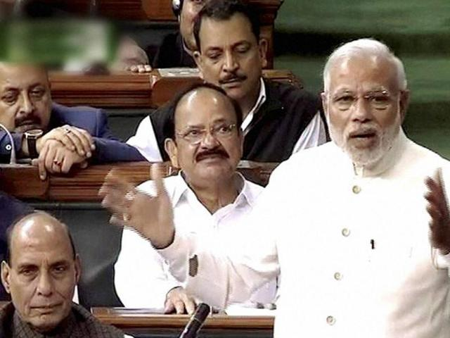 File photo of Prime Minister Narendra Modi  in Lok Sabha. Modi quoted Congress leaders Jawaharlal Nehru, Indira Gandhi and Rajiv Gandhi to appeal to Opposition to let the house function peacefully on Thursday, March 3, 2016.