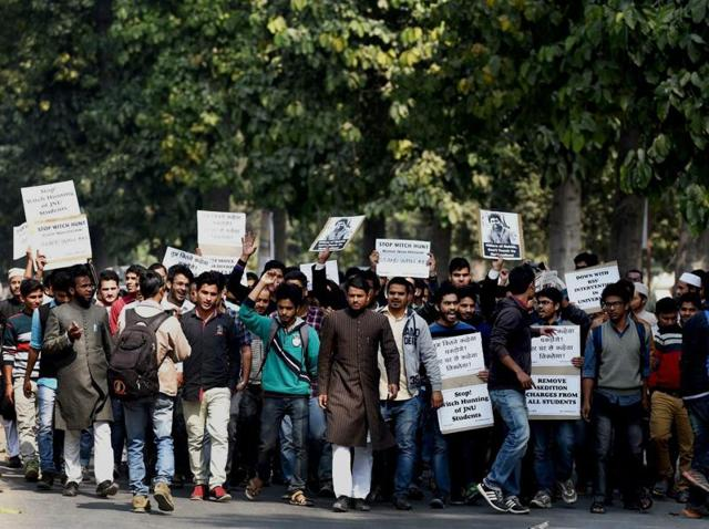 Students hold a protest rally against the JNU row, at Aligarh Muslim University.