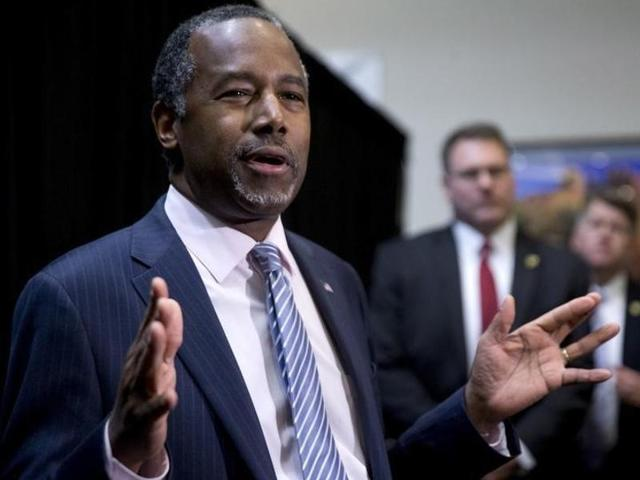 File photo of Republican presidential candidate Ben Carson in Las Vegas, Nevada. He indicated on Wednesday, March 3, 2016, that he is withdrawing from US presidential race.