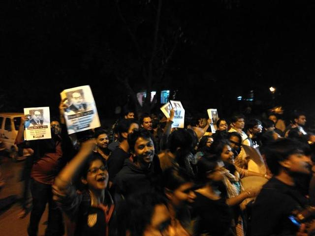To express solidarity with Kanhaiya Kumar and celebrate his return from jail, JNU students took out a victory march at the university campus on Thursday night.