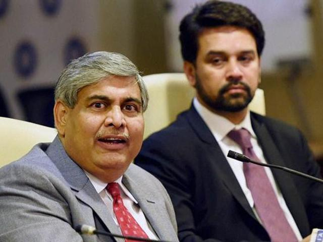 In this file photo,  BCCI president Shashank Manohar along with board secretary Anurag Thakur interact with the media.
