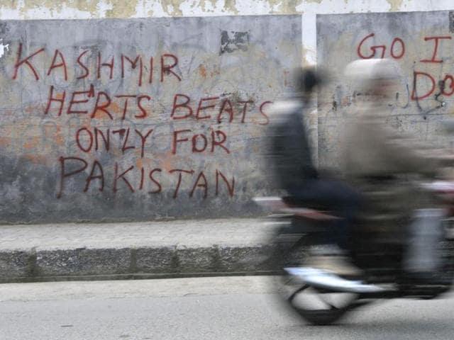 Political graffiti in Kashmir,Downtown Srinagar,Anti national slogans