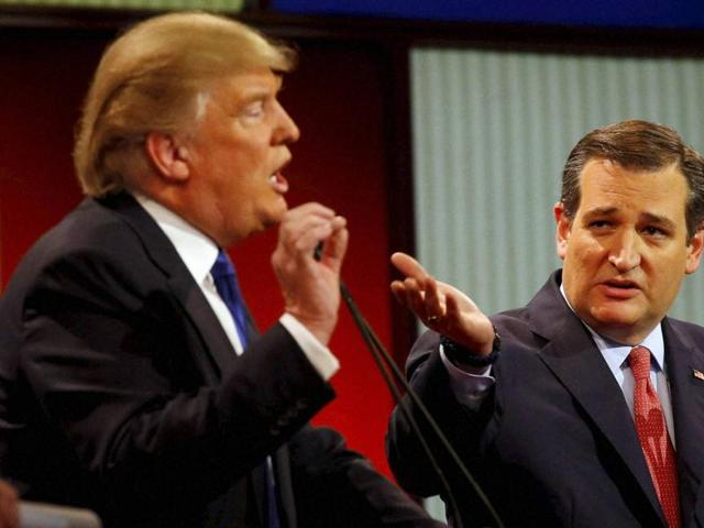 Donald Trump and Sen. Ted Cruz, at the Republican presidential debate hosted by Fox News in Detroit,