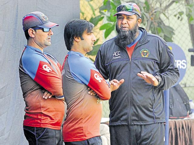 Afghanistan T20 Cricket Team members during their practice session at PCA Stadium in SAS Nagar.