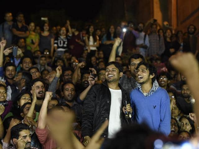 Kanhaiya Kumar addresses JNU students after his release from the Tihar jail in New Delhi on Thursday.
