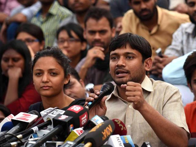 Jawaharlal Nehru University Students Union President Kanhaiya Kumar during media interaction at JNU Campus in New Delhi , India