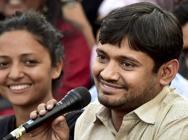 JNUSU president Kanhaiya Kumar, with the union vice-president Shehla Rashid, addresses a news conference at the JNU campus in New Delhi on Friday.