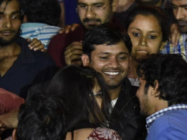 Kanhaiya Kumar interacting with JNU students after his release, in New Delhi, India, on Thursday, March 03, 2016.