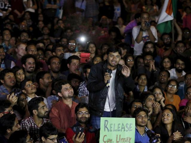 Kanhaiya Kumar, a Jawaharlal Nehru University (JNU) student union leader, gestures as he addresses a meet inside JNU campus in New Delhi, India, March 3, 2016.