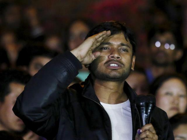 Kanhaiya Kumar, the students union president Jawaharlal Nehru University,  gestures as he addresses a meet inside JNU campus in New Delhi, India, March 3, 2016.