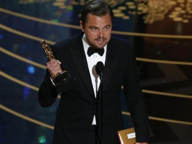 Leonardo DiCaprio with his Oscar for Best Actor for the movie The Revenant at the 88th Academy Awards in Hollywood, California.