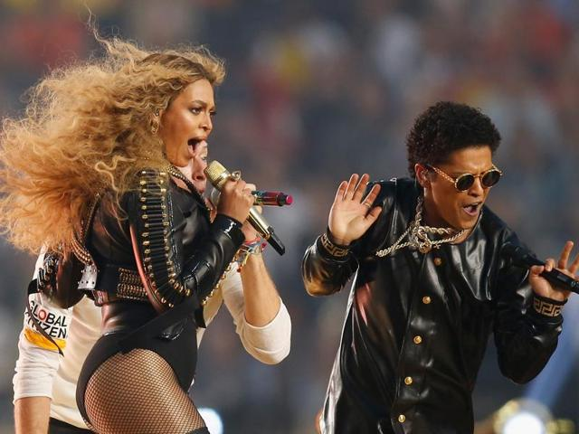 Beyonce and Bruno Mars perform during the Pepsi Super Bowl 50 Halftime Show on February 7, 2016 in California.