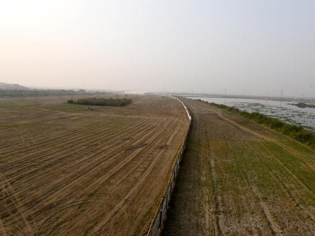 Massive construction is underway on the Yamuna bank along the DND for a World Cultural Festival by Art of Living scheduled for early March in New Delhi, India, on Thursday, March 3, 2016.