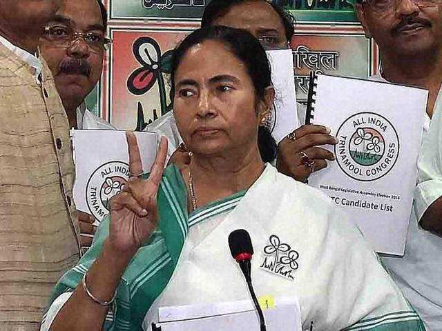 West Bengal chief minister and Trinamool Congress supremo Mamata Banerjee with party leaders in Kolkata during the release of the party's list of candidates for the upcoming assembly elections.
