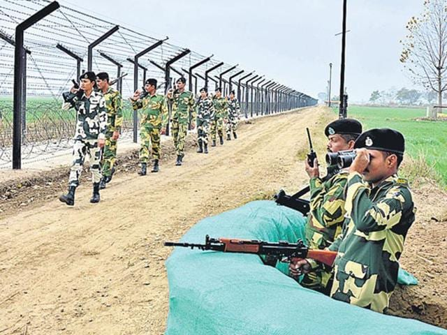 BSF jawans continue their vigil along the Indo-Pakistan International Border in Amritsar.