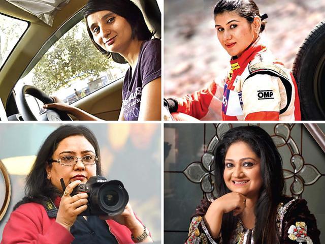 Clockwise: Poonam (Cab driver), Sneha Sharma (Race driver and airline pilot), Maneka Sorcar (Magician), Bhavna Paliwal (Detective)
