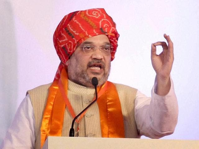 BJP president Amit Shah addresses BJYM national convention in Vrindavan.
