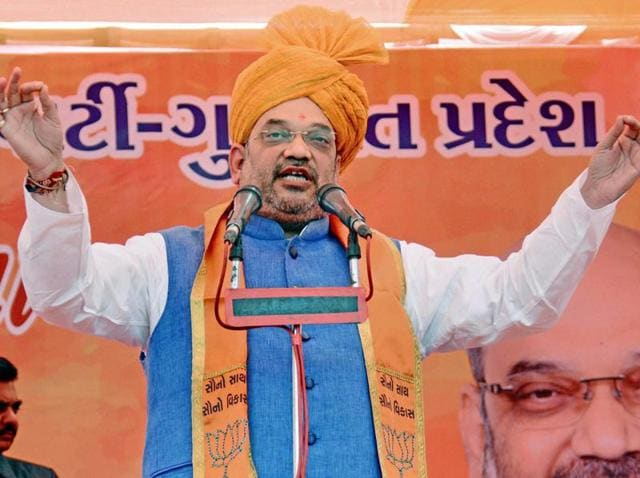 BJP national President Amit Shah delivers a speech in Ahmedabad.
