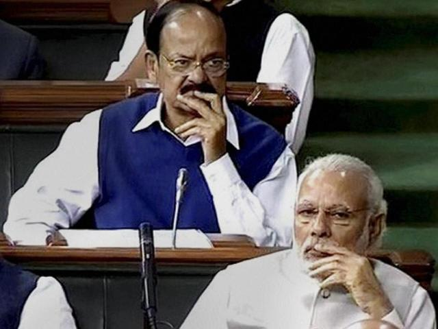 PMNarendra Modi, home minister Rajnath Singh and urban development minister Venkaiah Naidu in Lok Sabha on the first day of the Budget session in New Delhi.