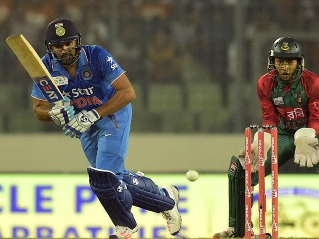 IRohit Sharma plays a shot during a Twenty20 cricket match between India and Bangladesh for the Asia Cup.