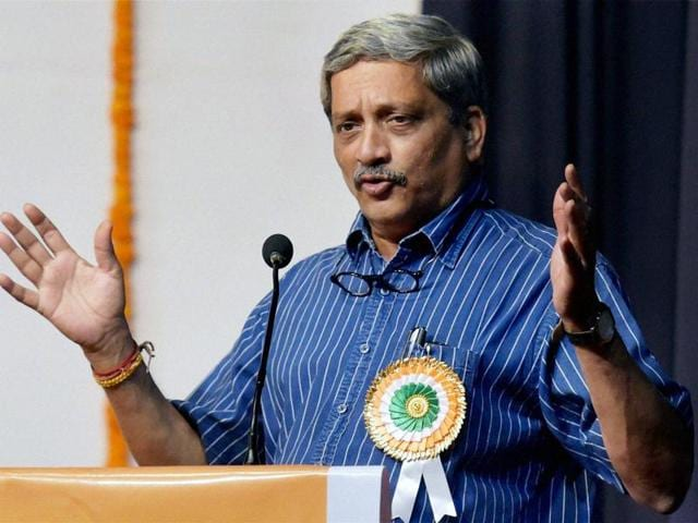 Defence minister Manohar Parrikar arrives Parliament House to attend the budget session.